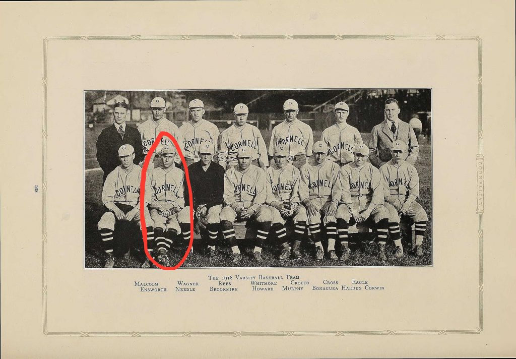 Page from 1918 Cornell University yearbook showing the members of the varsity baseball team