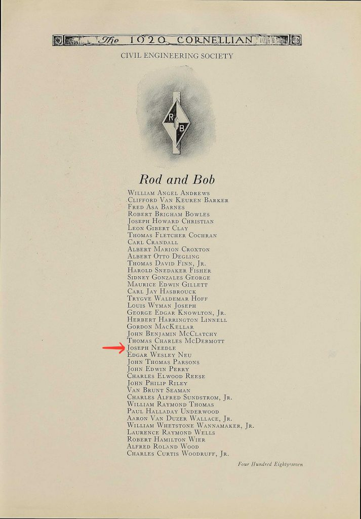 Page from the 1920 Cornell University yearbook listing the names of the members in the Civil Engineering Society