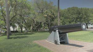 Civil War-era cannon at the Battery in downtown Charleston, South Carolina