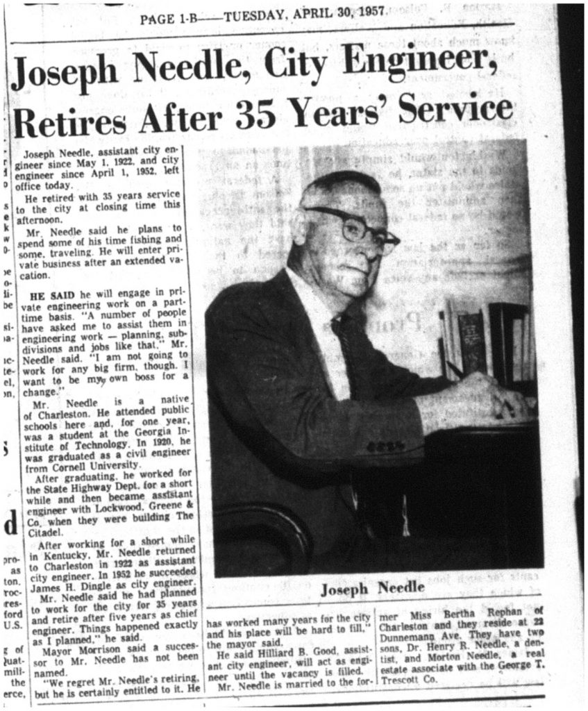 News article in the Charleston Evening Post from April 30, 1957 announcing the retirement of Joseph Needle