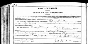 photo of a marriage license