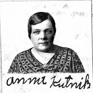 A picture of a woman -- Anna Kutnik -- and her signature