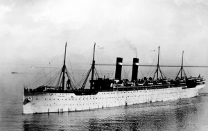A picture of a steamship in the ocean